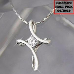 Jewelry - Infinity Cross Silver Plated Crystal Necklace